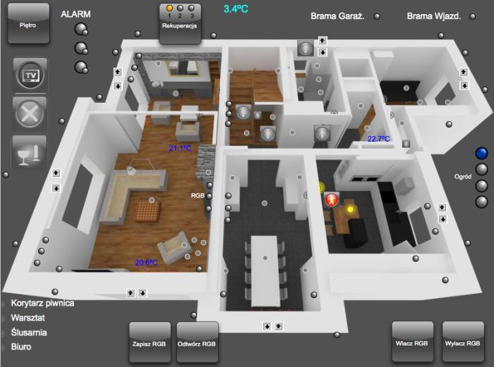 Widok ekranu iPad – parter domu w Wyszkowie