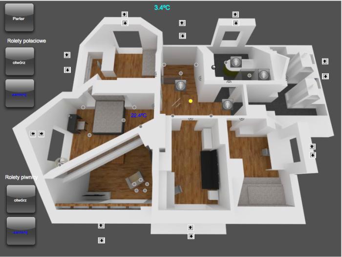 Widok ekranu iPad – piętro domu w Wyszkowie